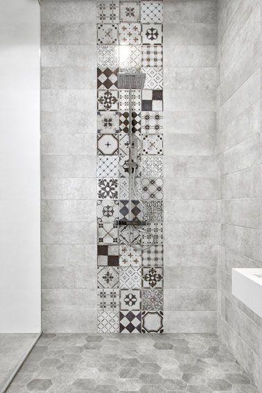 douche à l'italienne avec carreau de ciment