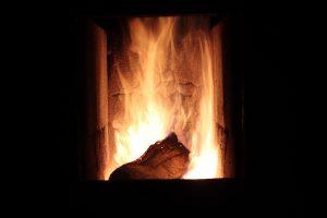 feu de bois dans un foyer de cheminée
